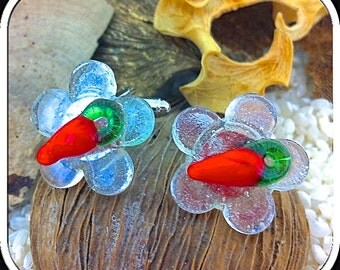 Fused Glass Cufflinks - Semi-Transparent Flower Shapes with Red Chilli Pepper Detail - Silver T-Bar - Gift Boxed