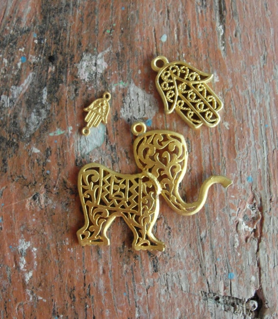 Luck Charms Hamsa's and an Elephant 3pcs