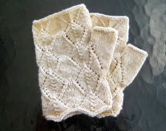 Lace Fingerless Knit Gloves - Handmade Natural Color Wool Silk Nylon