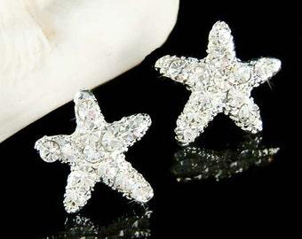 Swarovski Crystal STARFISH star fish Marine Sparkling Minimalist Stud Earrings Beach Wedding Jewelry Best Friend Birthday Christmas Gift New