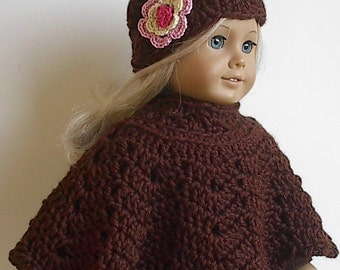 18 Inch Doll  Crocheted Brown Poncho Set with Flowered Hat handmade to fit the American Girl and other similar dolls