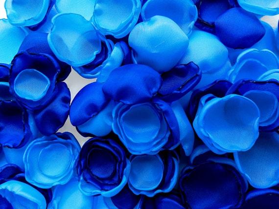 Aqua blue and royal blue flower petals 108 handmade azure and