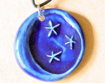 Handmade Ceramic Moon  Pendant - Rich and Bold Blue Moon Bead on a black cotton cord