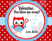 Valentine's Day Tag. You Blow me Away. Bubble Valentine. Class Valentines. Printable Tag. PDF File. . Personalized.Square Tag. Red  Heart.