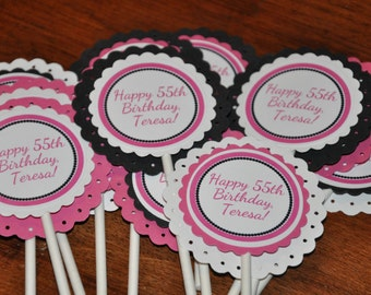 Cupcake Toppers. Happy Birthday. Personalized. White. Dark Pink. Black. Cupcake Picks. Set of 12. Any text