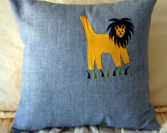 Yellow Lion Pillow / baby room decor / toddler bedding / lion jungle theme nursery decor / playroom pillow / designer children's room pillow