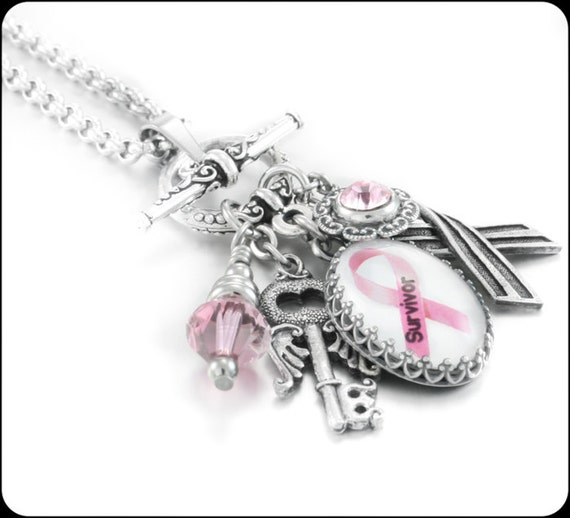 Breast Cancer Awareness Charm Necklace, Breast Cancer