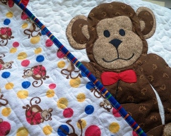 Childrens Monkey Quilt appliqued flannel backed