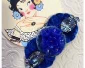 Cobalt Blue Flower Hair Clip made with Vintage Jewelry and Velvet