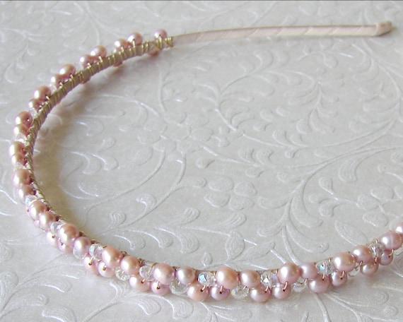 Blush Rose Pink Freshwater Pearl Diadem Wedding Headband Bridal Headpiece Bohemian Chic Renaissance Bride Prom Reign Headdress Gold Medieval
