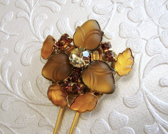 Art Nouveau Amber Hair Comb Vintage Jewelry Hairpiece Rhinestone Hairpin Bohemian Chic Woodland Wedding Gold Bridal Accessories Boho Bride