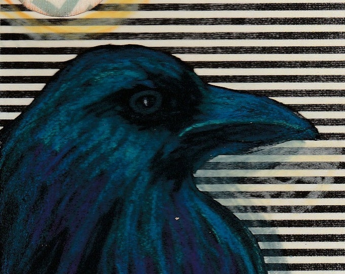 Original ACEO Raven black and white stripe Chevron button