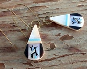 Inlaid Mother of Pearl Turquoise and Jet Native American Style Earrings