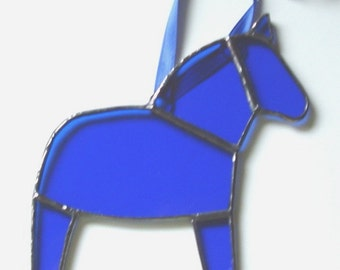 Blue Dala Horse Ornament, Swedish Christmas Ornament, Tiffany Style Stained Glass Horse, Swedish Custom, Free US shipping