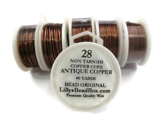 Antique Copper Wire - 28 Gauge Wire Wrapping Jewelry Supplies, Round Half Hard Wire, Non Tarnish Wire