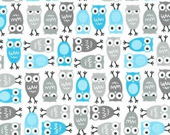 Minis Urban Zoologie minis - Owls in Blue by Ann Kelle for Robert Kaufman - 1 Yard