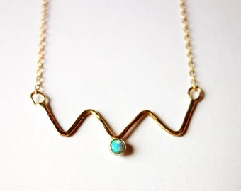 14k Gold fill Zig Zag Necklace with Opal