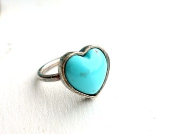 Handmade Turquoise Heart Ring in Oxidized Sterling Silver