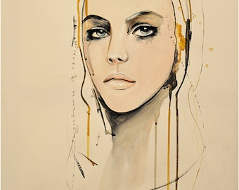 "Portrait, Fashion, Painting, Mixed Media Art Print by Leigh Viner - ""Golden"""