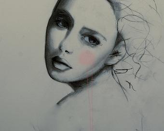 Mayya - Fashion Illustration Art Print, Portrait, Woman, Mix Media Drawing by Leigh Viner