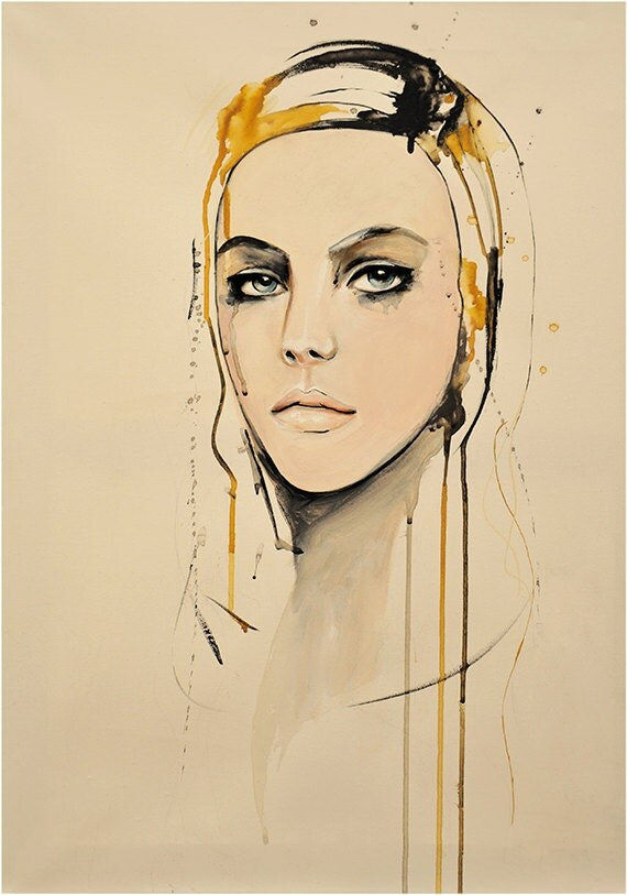 """Portrait, Fashion, Painting, Mixed Media Art Print by Leigh Viner - """"Golden"""""""