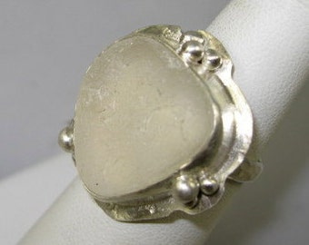 Sea Glass Jewelry Sea Glass Ring White Sea Glass Ring White Beach Glass Size 6 - R-065 Clearance Item