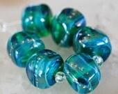 6 Large Teal Green Opals  , Green Blue Mist handmade glass beads,  lampwork beads by Beadfairy Lampwork, SRA