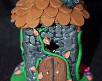 OOAK fairy house / tower tea light, miniture house