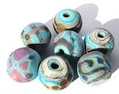 Handmade Lampwork Glass Round Beads matte turquoise purple silver ivory