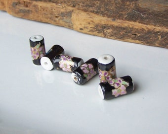 Porcelain Beads, Barrel Beads, Floral Beads, Black with Flowers, Etsy, Etsy Jewelry, Destashed Beads, Etsy Supplies, Jewelry Supplies