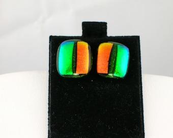 Dichroic Glass Square Earrings E-292
