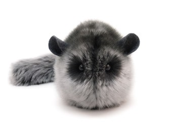 Stuffed Chinchilla Stuffed Animal Cute Plush Toy Chinchilla Kawaii Plushie Smokey Dark Grey Cuddly Faux Fur Chinchilla Small 4x5 Inches