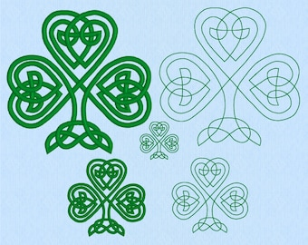 Celtic Knot Shamrock machine embroidery design file in three sizes and two styles