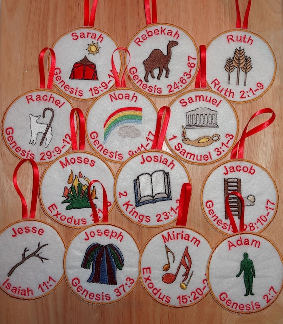 Jesse Tree Christmas Advent ornaments set of 25 by lynellen