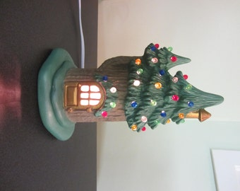 Winter Fairy house -pine tree faerie house - lighted fairy house - pastel colored house - Christmas fairy house - gift for little girl