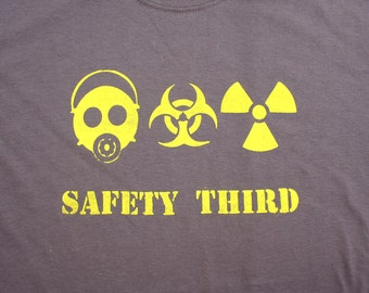 Triple Threat Safety Third tshirt gray & yellow Mens Short Sleeve safety tshirt s - xxl gas mask biohazard radioactive safety 3rd Mike Rowe