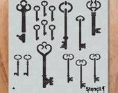 Skeleton Keys Repeat Pattern Wall Stencil- Reusable Craft &DIY Stencils- S1_PA_74 -8.5x11- By Stencil1