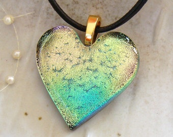 Dichroic Heart Pendant, Fused Glass, Pink, Gold, Aqua, Necklace Included