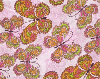 Pink Butterflies All Over Fabric Sold In 21X44 Inch Piece (Last Chance)
