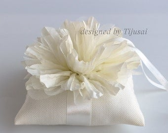 Ring pillow with ivory flower -ring bearer, ring cushion, ready to ship