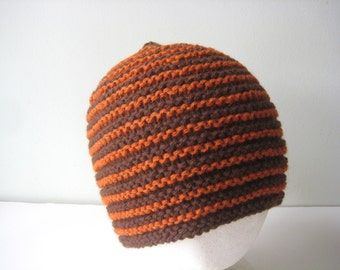 mans knitted hat brown and orange hand knit wool hat