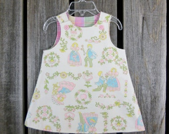 Faerie Tale Sweethearts baby dress in size 3 to 6 months (vintage reclaimed fabrics)/ Eco wear/ photo fashion/ spring dress/ pink and green