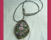 Hand Painted Roses on a Wood Pendant Necklace