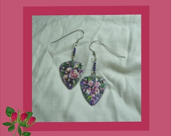 One of a Kind, Hand Painted Rose Guitar Pick Earrings