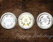 """Printable Holiday Christmas mason jar label   Joy   Holly   Gift for Canning and food labels PDF FILE 2"""""""