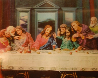 vintage lenticular Leonardo's last Supper photograph image in frame religious Kitsch 3D picture
