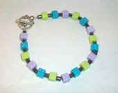 Blue Purple Green Dice Hematite Bracelet