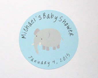 ELEPHANT BABY SHOWER Custom Favor - Thank You Stickers - Round Labels - You Choose the Size