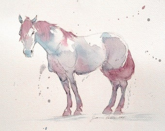 """Framed original Horse Painting - """"Purple Horse"""" - watercolor and ink"""