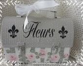 Fleurs Vintage Lunch Box, Hand Painted with Pink Roses,Stripes, Swiss Dots,Keepsake, Collectible, Storage, ECS